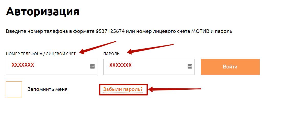 Авторизация в личном кабинете Мотив