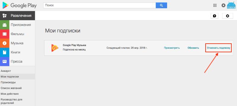 как отказаться от подписки гугл